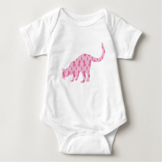 Cancer-Ribbon-Cat Baby Bodysuit