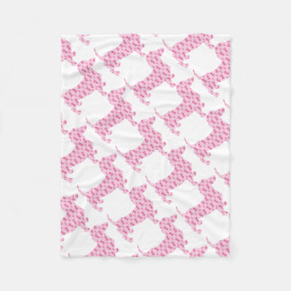 Cancer-Ribbon-Doxie Fleece Blanket