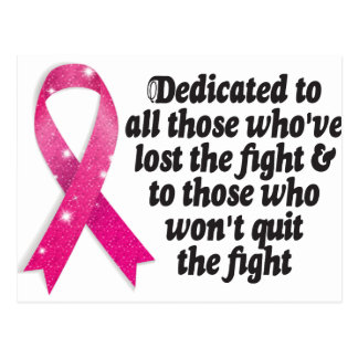 Cancer ribbon quote dedicated to cancer fighters postcard