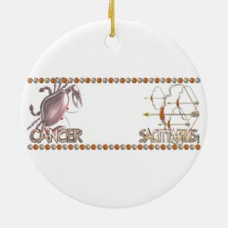Cancer Sagittarius zodiac astrology friendship Round Ceramic Decoration