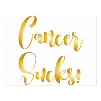 cancer sucks gold  fancy font postcard