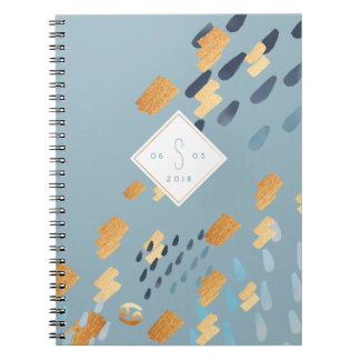Cancer Zodiac Abstract Grey & Gold Notebook