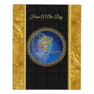 Cancer Zodiac Astrology gold foil with black. Jigsaw Puzzle