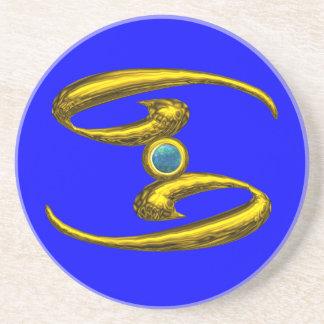 CANCER ZODIAC BIRTHDAY JEWEL  Blue Opale , Beverage Coaster