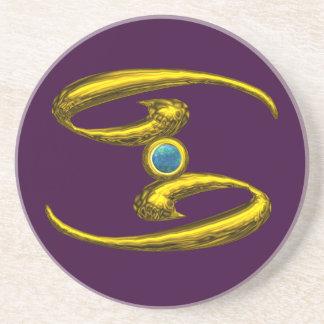 CANCER ZODIAC BIRTHDAY JEWEL  Blue Opale ,Purple Drink Coasters