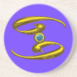 CANCER ZODIAC BIRTHDAY JEWEL  Blue Opale , Sandstone Coaster