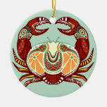 Cancer Zodiac - Crab Round Ceramic Decoration