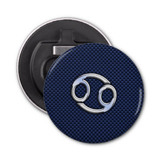 Cancer Zodiac Sign on Blue Carbon Fiber Decor Bottle Opener