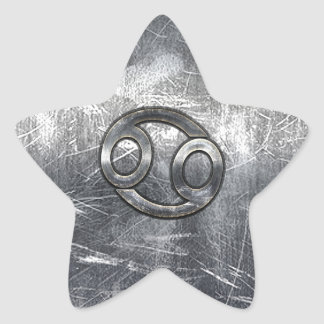 Cancer Zodiac Symbol in Distressed Decor Star Sticker