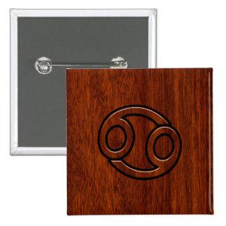 Cancer Zodiac Symbol on Mahogany Style Decor 15 Cm Square Badge