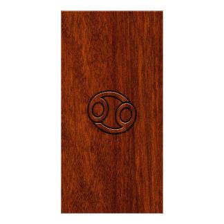 Cancer Zodiac Symbol on Mahogany Wood Style Photo Card Template
