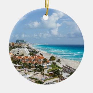 Cancun city on beachside ceramic ornament