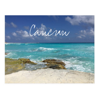Cancun Mexico Beach Rocky Ocean Waves Postcard