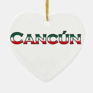 Cancun (text logo) ceramic heart decoration
