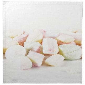 Candies marshmallows napkin