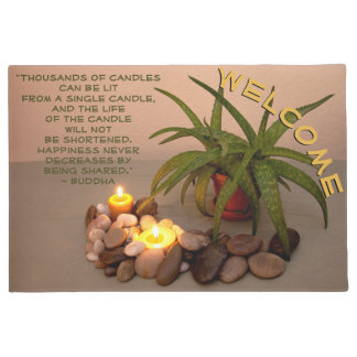Candle, Aloe and Smooth Stones Photograph Doormat