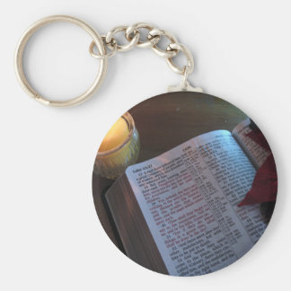 Candle, Bible, and Poinsetta Key Chains