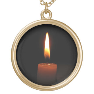 Candle Flame Gold Plated Necklace
