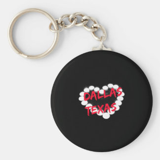 Candle Heart Design For Dallas, Texas Basic Round Button Key Ring
