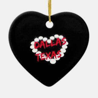 Candle Heart Design For Dallas, Texas Ceramic Ornament