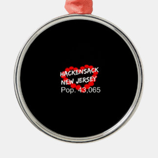 Candle Heart Design For Hackensack, New Jersey Metal Ornament