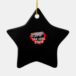 Candle Heart Design For North Carolina State Ceramic Star Decoration
