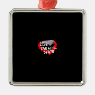 Candle Heart Design For North Carolina State Silver-Colored Square Decoration