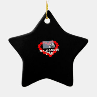 Candle Heart Design For North Dakota State Ceramic Ornament