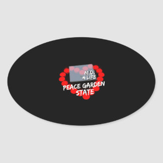Candle Heart Design For North Dakota State Oval Sticker