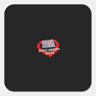 Candle Heart Design For North Dakota State Square Sticker