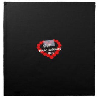 Candle Heart Design For South Dakota State Cloth Napkin