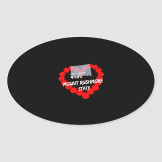 Candle Heart Design For South Dakota State Oval Sticker