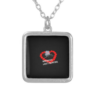 Candle Heart Design For The State of Alaska Silver Plated Necklace