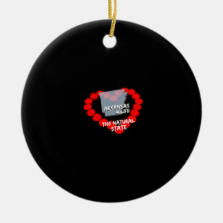 Candle Heart Design For The State of Arkansas Ceramic Ornament