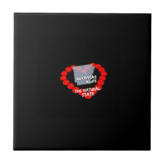 Candle Heart Design For The State of Arkansas Ceramic Tile