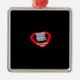 Candle Heart Design For The State of Arkansas Metal Ornament