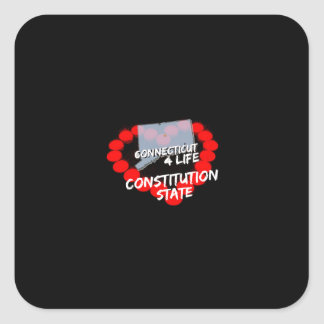Candle Heart Design For The State of Connecticut Square Sticker