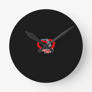 Candle Heart Design For The State of Florida Round Clock