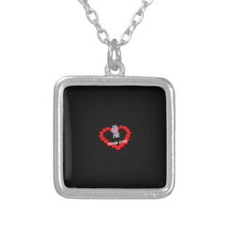 Candle Heart Design For The State of Illinois Silver Plated Necklace