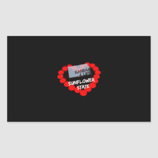 Candle Heart Design For The State of Kansas Rectangular Sticker