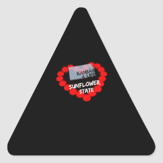 Candle Heart Design For The State of Kansas Triangle Sticker