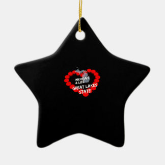 Candle Heart Design For The State of Michigan Ceramic Star Decoration