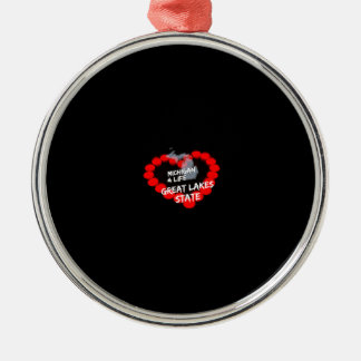 Candle Heart Design For The State of Michigan Silver-Colored Round Decoration