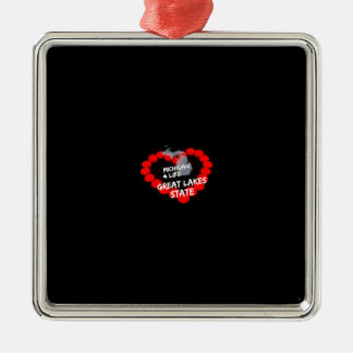 Candle Heart Design For The State of Michigan Silver-Colored Square Decoration