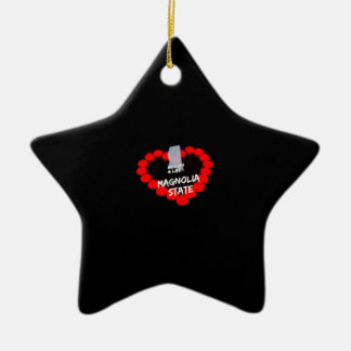 Candle Heart Design For The State of Mississippi Ceramic Ornament