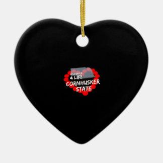 Candle Heart Design For The State of Nebraska Ceramic Ornament