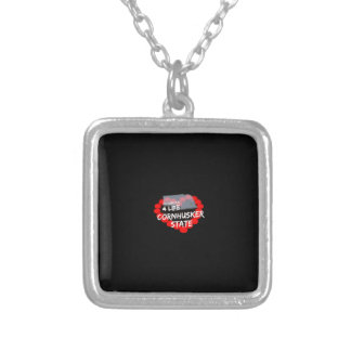 Candle Heart Design For The State of Nebraska Silver Plated Necklace