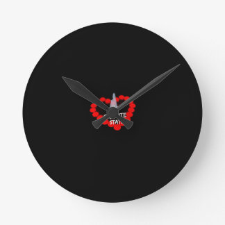 Candle Heart Design For The State of New Hampshire Round Clock