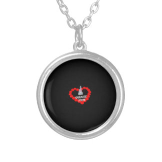 Candle Heart Design For The State of New Hampshire Silver Plated Necklace