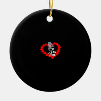 Candle Heart Design For The State of Rhode Island Ceramic Ornament
